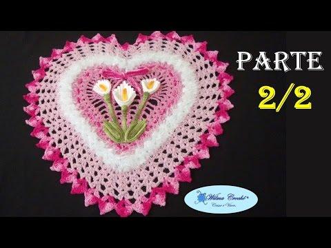 Jogo de Banheiro Coração Tapete de Pia 2/2 # Wilma Crochê