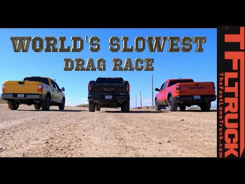 World's Slowest Drag Race #1 (Ram Rebel vs GMC Sierra vs Nissan Titan Gold Winch Ep.3)