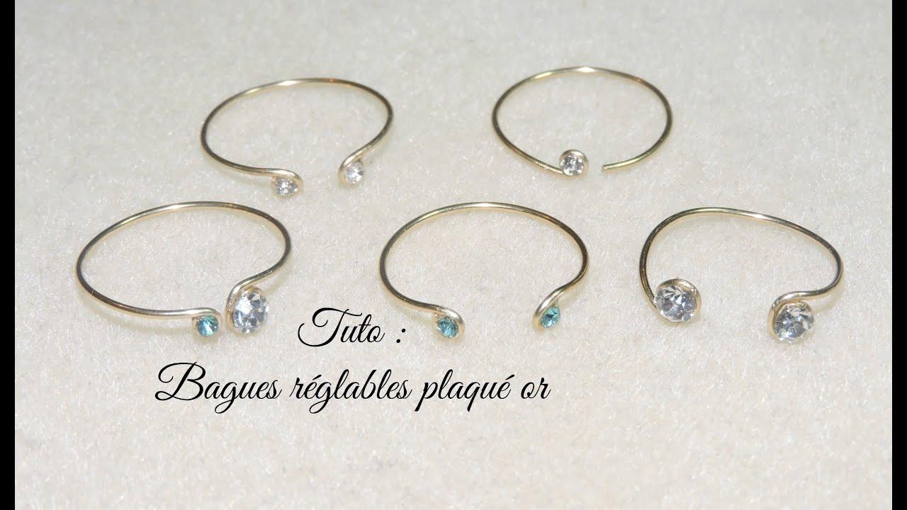 Bague fil plaque or