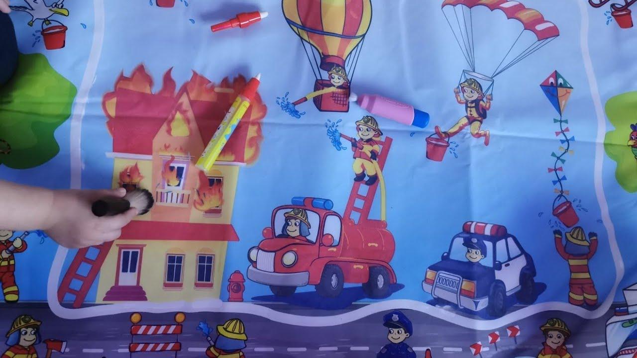 الرسم بالماء للأطفال ، سيارة المطافئ، سيارة شرطة لعبة، رسم ألوان مائية