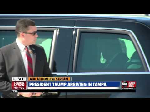 President Trump arrives in Tampa to visit MacDill Air Force Base & CentCom leaders