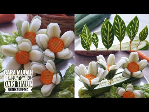Cara Membuat Garnish Tumpeng Cepat Dan Mudah PART 3│  Membuat Daun Dan Bunga Dari Timun