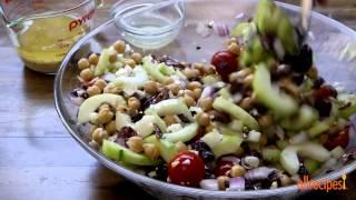 Salad Recipes   How To Make Greek Garbanzo Bean Salad