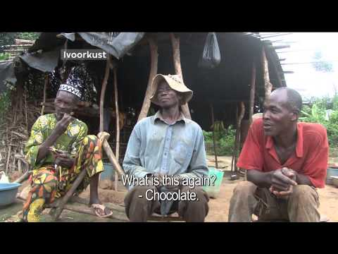 Ivory Coast cocoa farmers taste chocolate for the first time.