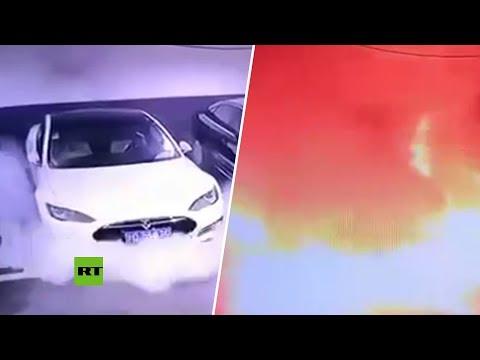 Un Tesla explota y se incendia en un estacionamiento