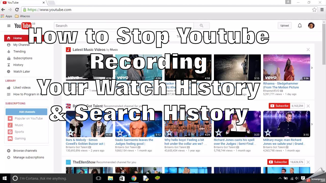 How To Stop Youtube Recording Your Watch And Search History How To Delete  Watch And Search