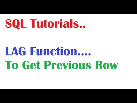 What is LAG Function in Oracle