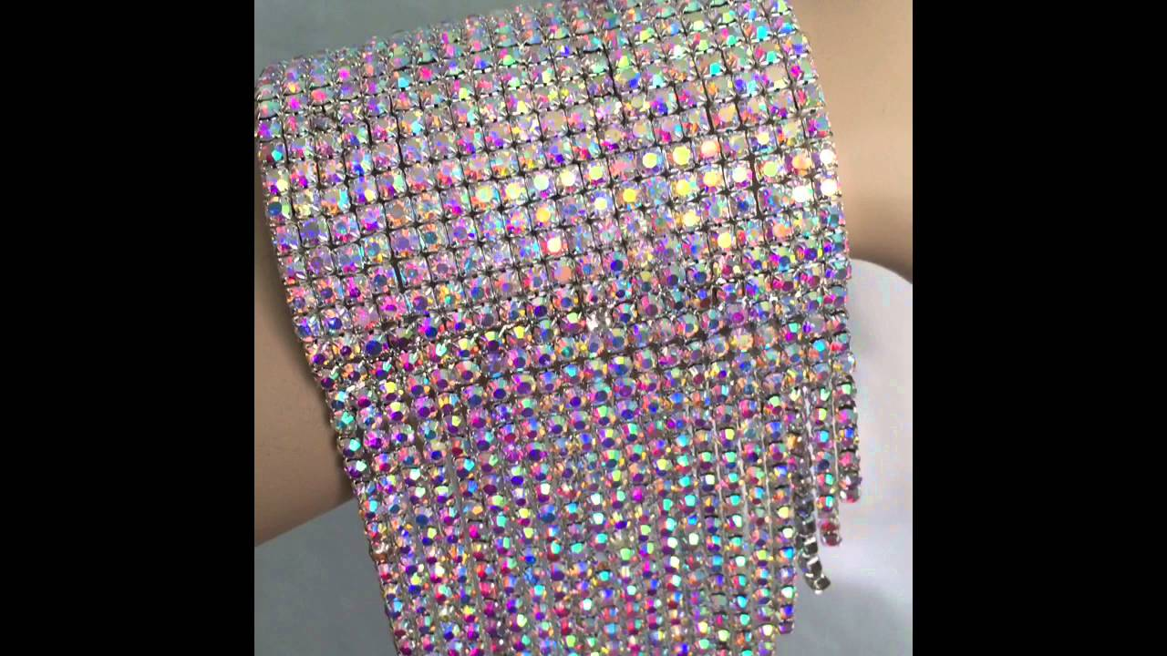 rhinestone crystal cuff bracelet with long fringe ab youtube