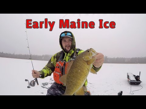 First Day Ice Fishing In Maine. Fishing In A Blizzard!! 2019/20 Ice Fishing.