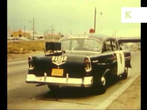 1950s US Police Speed Radar Check, Cop, Traffic