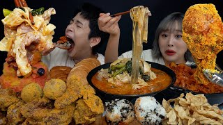 SUB) ASMR MUKBANG 최초각자먹방! 좋아하는거 다시켜! 매운마라탕+매운오돌뼈 주먹밥+눈꽃팥빙수에 뿌링클까지!! 각자먹방! Maratang, Pork cartilage! screenshot 5