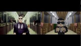 Download Video GANGNAM STYLE VS MINECRAFT STYLE MP3 3GP MP4