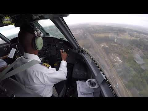 AMAZING Dash 8-100 (c/n 7)  Cockpit Landing on NARROW Nairobi Wilson Runway - SPOT ON!!! [AirClips]