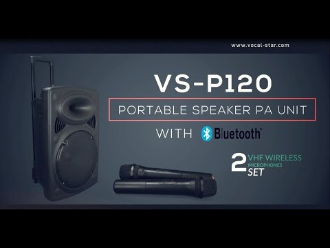 Vocal-Star VS-P120 Portable Speaker PA Unit With Bluetooth & 2 VHF Wireless Microphones Overview