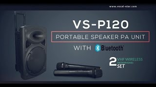 vocal star vs p120 portable speaker pa unit with bluetooth 2 vhf wireless microphones overview
