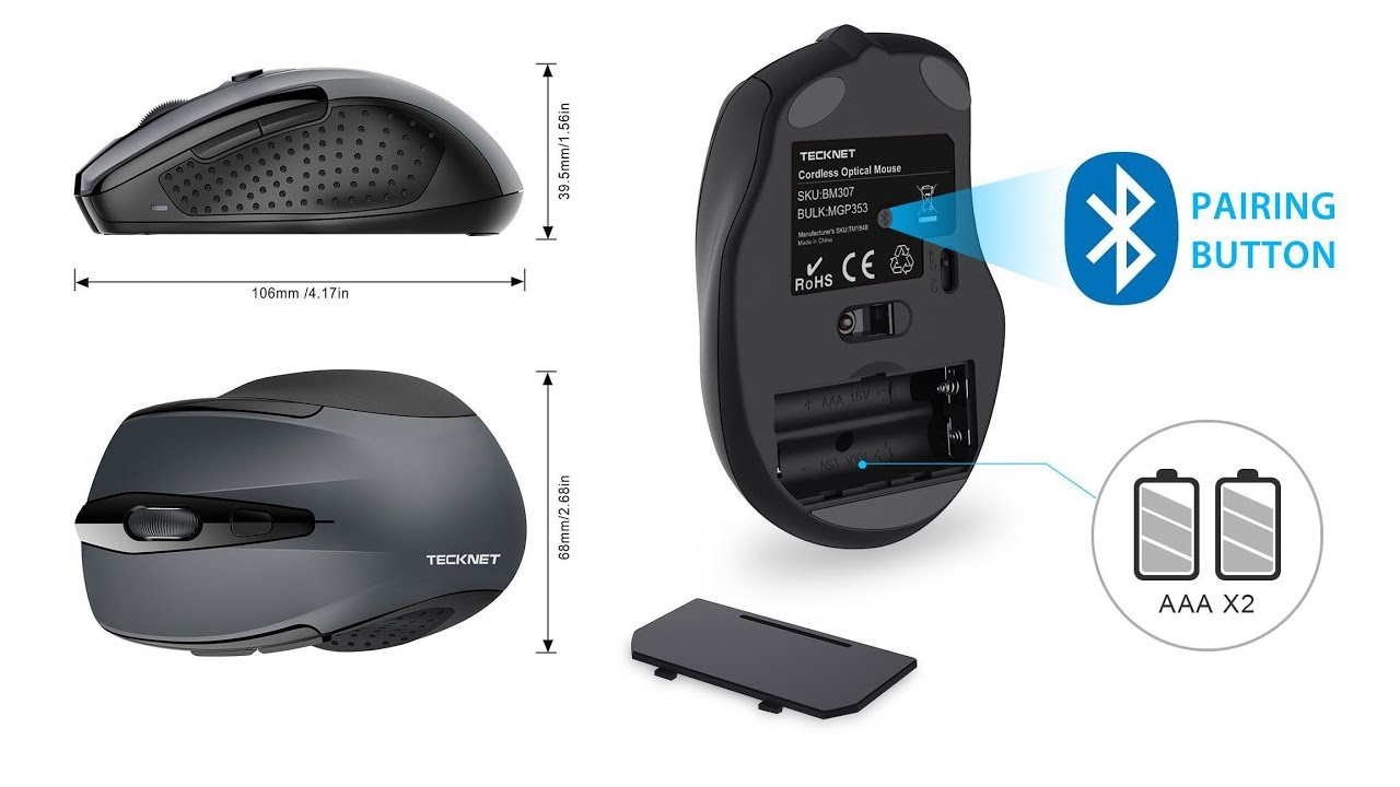 54dc771197a TeckNet BM307-Grey 2.4G Bluetooth Wireless Mouse 2400DPI - YouTube