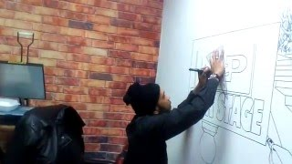 Complete Artist drawing on the wall at Live Cuts barbershop in NTP BACKSTAGE part 3