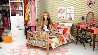 Barbie Doll Bedroom for Gigi Hadid Doll with Dress up Wardrobe Toy