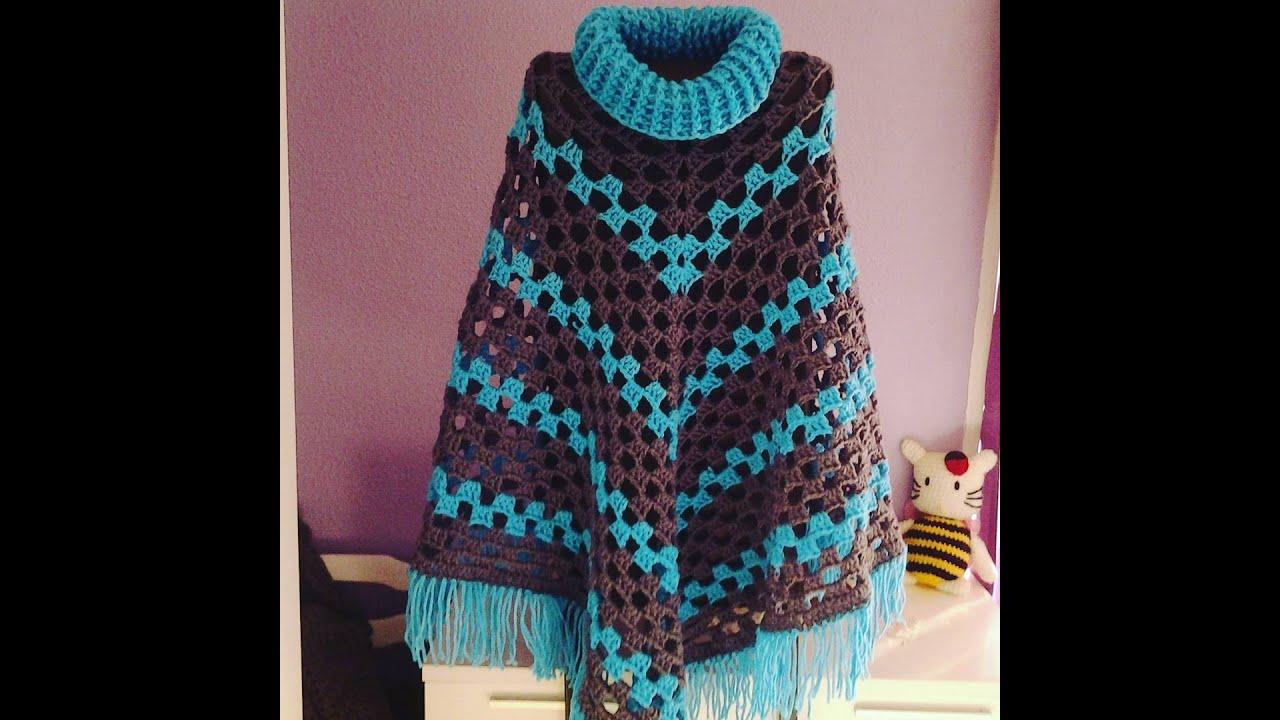 Como hacer poncho facil paso a paso de ganchillo o - Como hacer punto de lana para principiantes ...