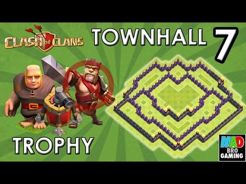 TH7 TROPHY Base (No Barbarian King) With AIR SWEEPER - Clash Of Clans 2015