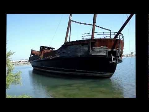 Abandoned Ship Wreck Grounded Shores of Lake Ontario