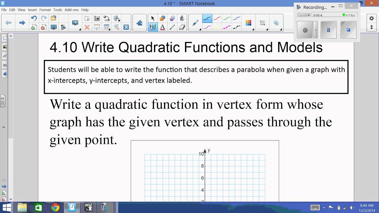 4 10 Write A Quadratic Equation In Vertex Form