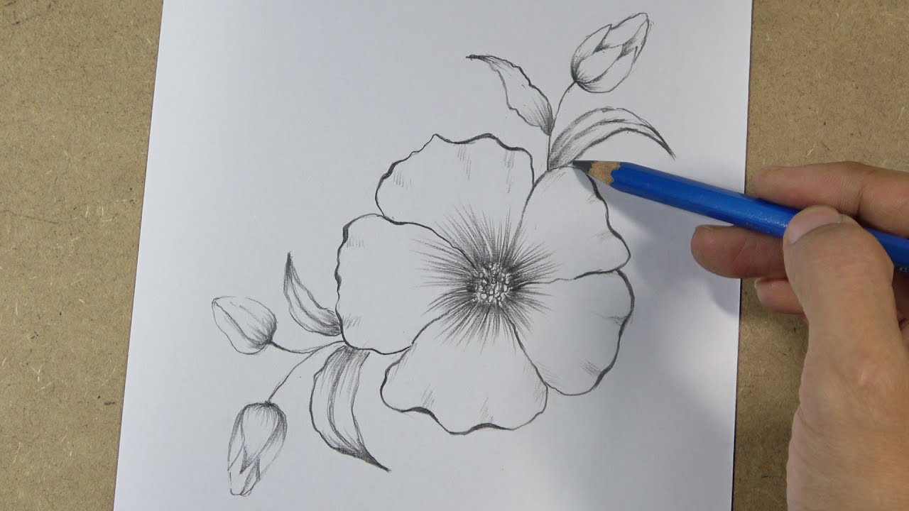 How To Draw A Simple Flower Tattoo Design Step By Step Hihi Pencil Youtube