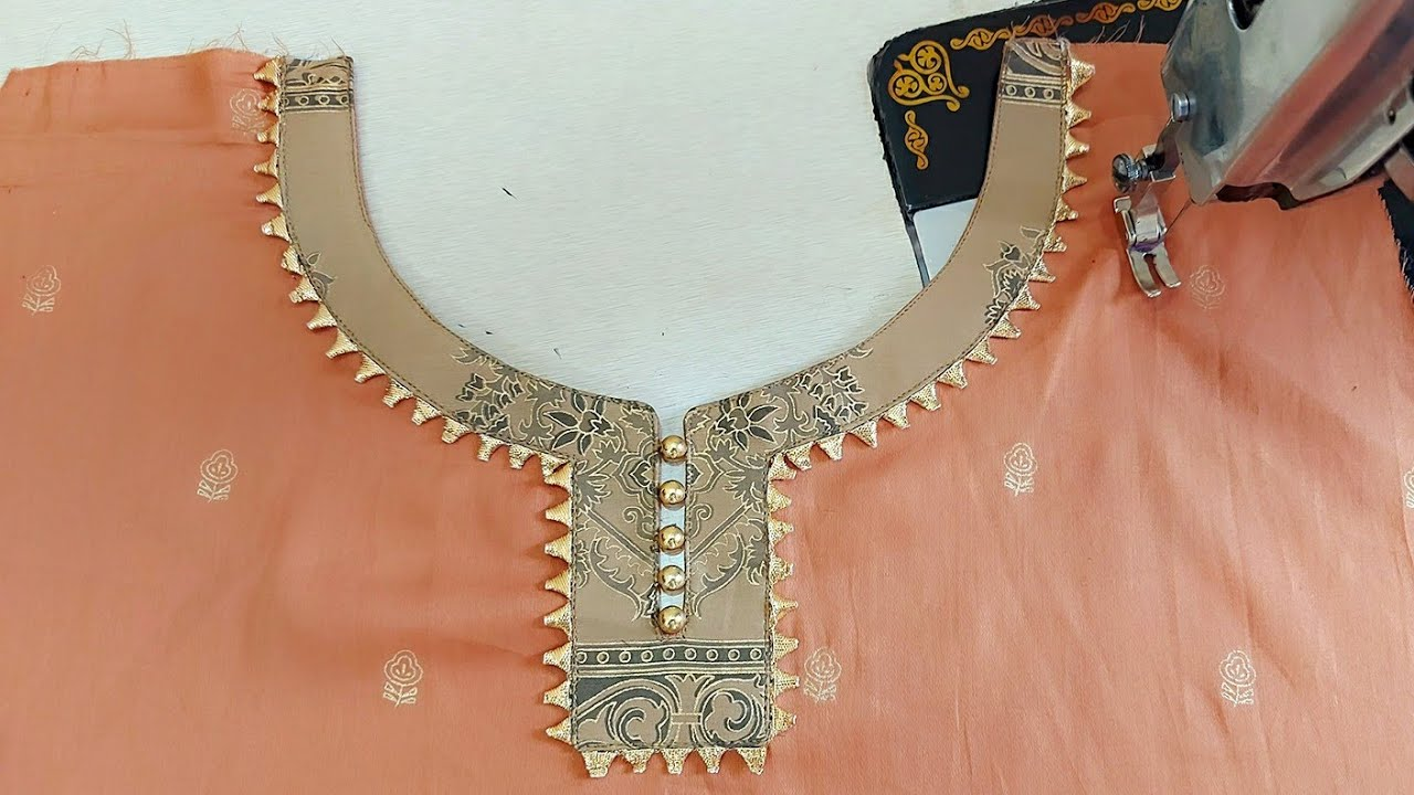 Beautiful Neck Design with Gotta Patti Lace | Party wear Neck Design cutting and stitching