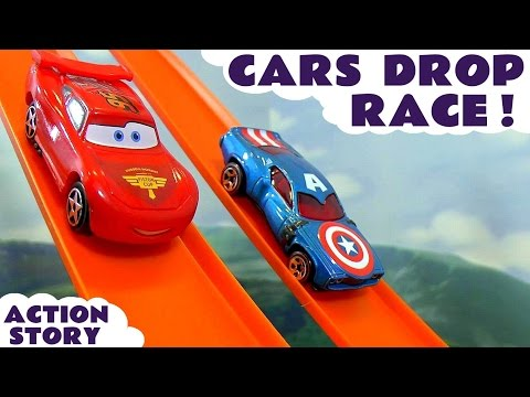 Disney Cars Toys Hot Wheels Drop Race with Spiderman Iron Man Captain America & TMNT Kids Toy