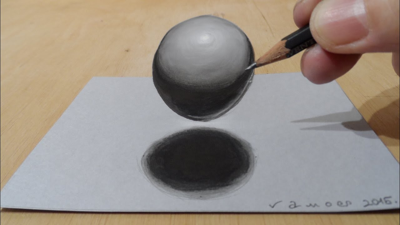 3D Drawing of a Sphere, Levitating Ball - YouTube