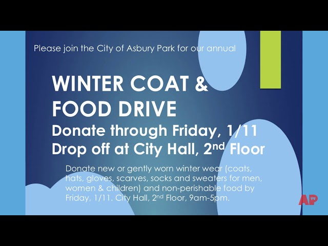 Asbury Park Coat Drive & Give Away - Jan. 11 & 12, 2019