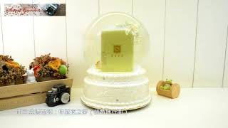 Jarll 150mm 結婚系列 雙天鵝相框音樂水晶球