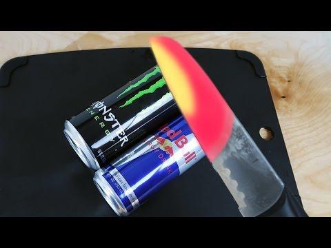 EXPERIMENT Glowing 1000 degree KNIFE VS MONSTER & RED BULL