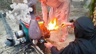 Download Old Diesel Engine Start Up With Fire | Tubewell Technology | Agriculture In Pakistan Mp3 and Videos
