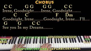 Goodnight, Irene (Traditional) Piano Cover Lesson in C with Chords/Lyrics - Arpeggios