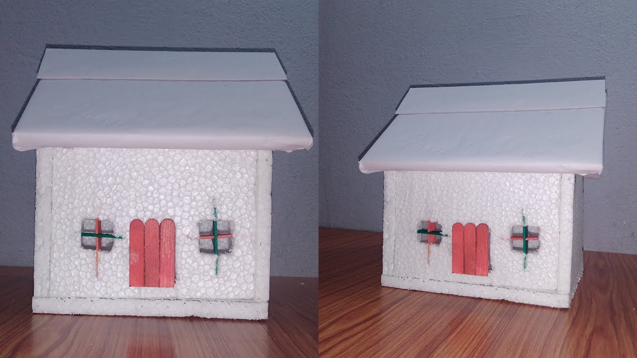 How To Make A Small Thermocol House Model School Project For Kids Diy