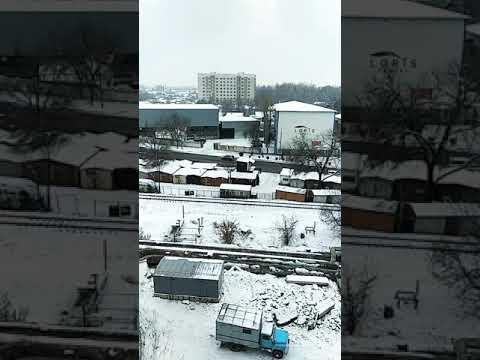 Snowfall in Bishkek city.