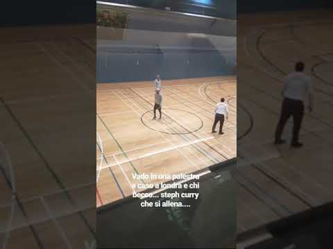 "Warriors superstar Stephen Curry in London, shoots around then plays badminton with Bruce ""Q"" Fraser"