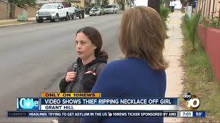 Video shows thief ripping necklace off girl