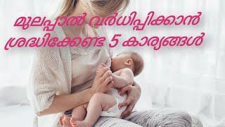 മുലപ്പാൽ വർധിപ്പിക്കാൻ ശ്രദ്ധിക്കേണ്ട 5 കാര്യങ്ങൾ /5 Tips to increase breast milk