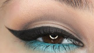 Dramatic winged eyeliner with a pop of blue! Eye look tutorial! Thumbnail
