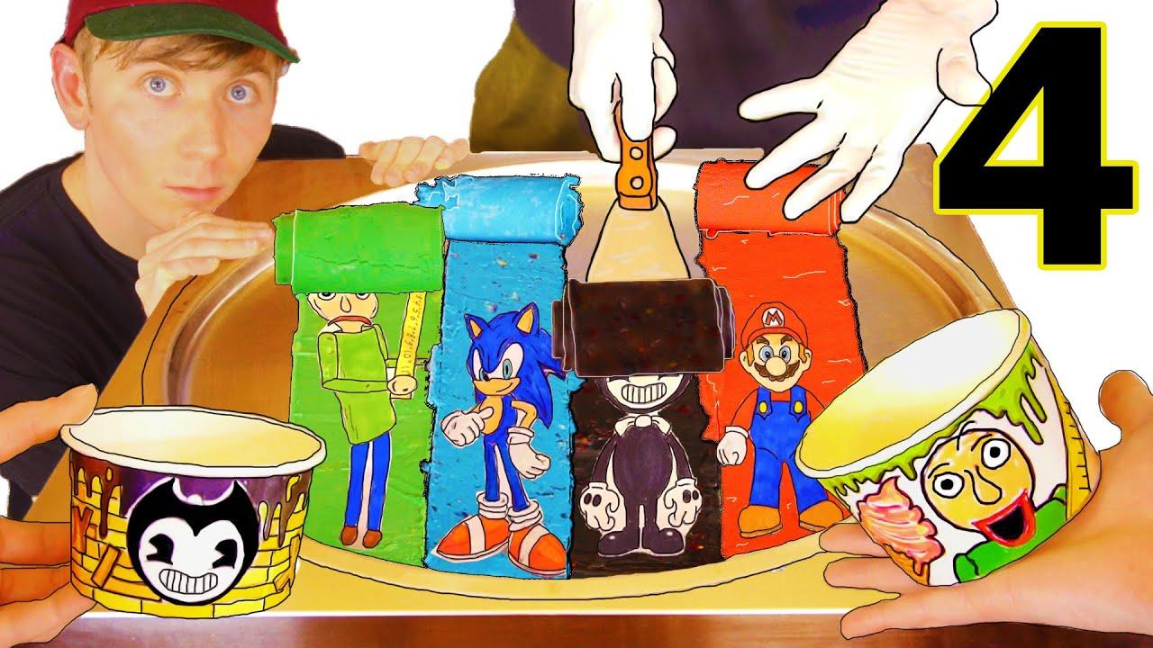 DO NOT EAT Ice Cream Rolls (Part 4) Flavors: Bendy, Baldi, Mario, Sonic Amazing Ice Cream