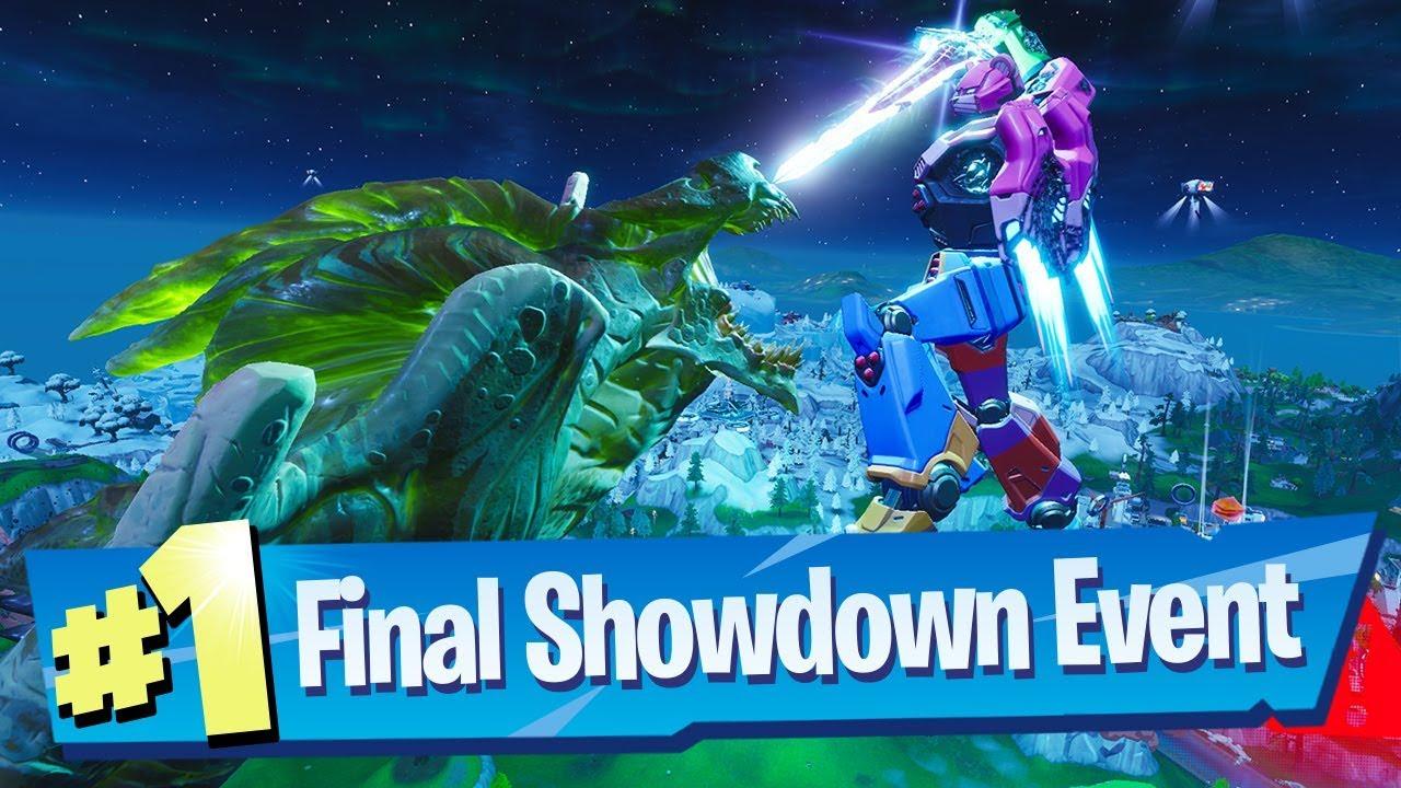 Fortnite Final Showdown Robot Vs Monster Event Full Gameplay Reaction