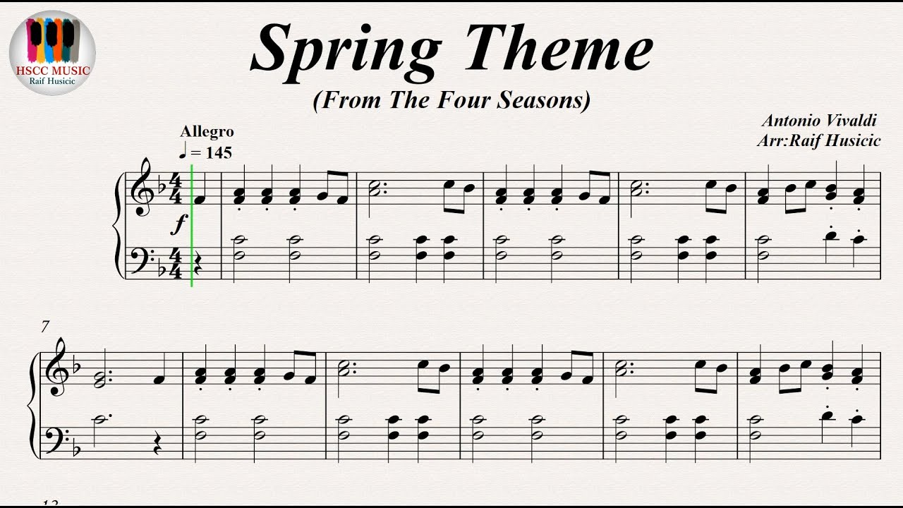 Spring Theme From The Four Seasons Antonio Vivaldi Piano