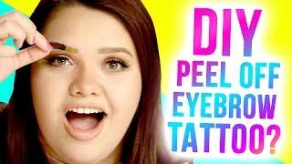 DIY PEEL OFF Eyebrow Tattoos?! Makeup Mythbusters w/ Karina Garcia & MayraTouchOfGlam