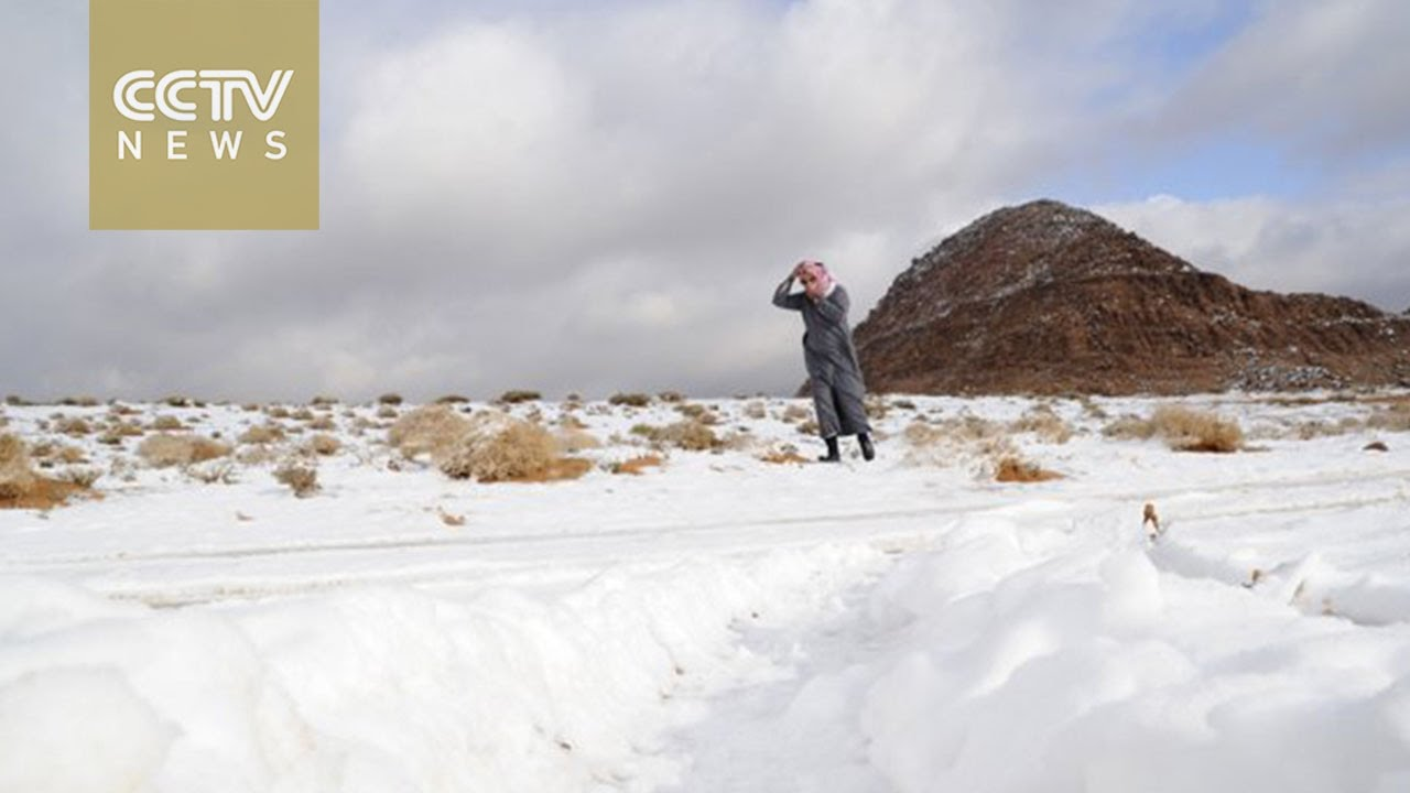 Unusual weather: Saudi Arabia desert covered in snow
