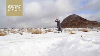 Unusual weather: Saudi Arabia desert covered in snow