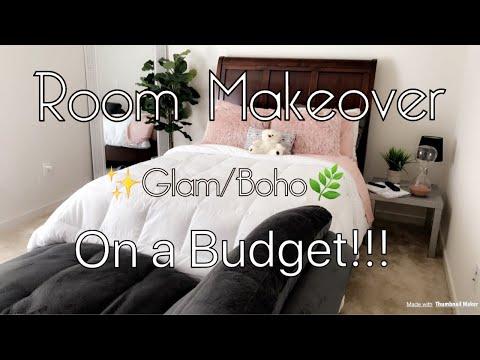 Bedroom Makeover | Basement Room Makeover | Glam-Boho Bedroom