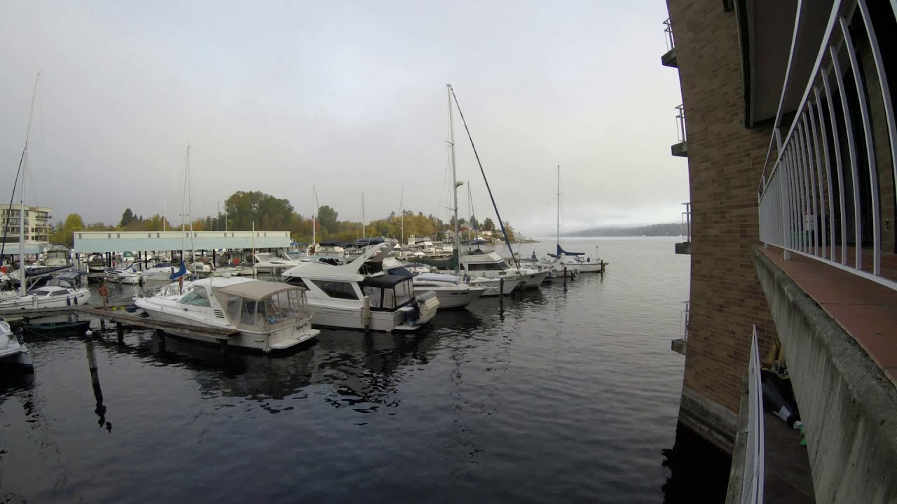 Time Lapse of Rainier Yacht Club on Lake Washington Marina in Seattle, WA