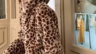 귀여운  레오퍼드 밍크퍼자켓  페이크 토끼털 호피무늬